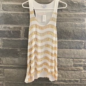 Bebe Sequin Stripe Tank Top